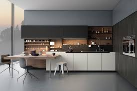 sleek contemporary kitchen cabinets designs including modern wood cabinets and shelves plus modern island with chairs near white cabinets with sink and