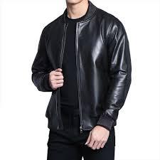 details about men baseball leather jacket slim fit motorcycle coat windproof stand collar tops