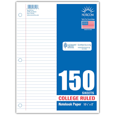 Norcom Filler Paper College Ruled 150 Sheets Walmart Com