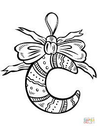 Small Picture Crescent Moon Christmas Ornament coloring page Free Printable