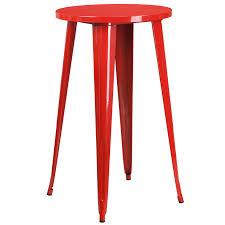 24 round red metal indoor outdoor bar height table