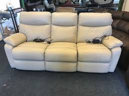 harveys bailey cream grey real leather electric power relciner and velvet sofa seater three plus tan