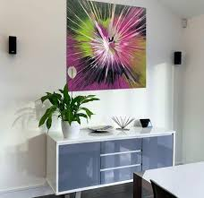 lime green and pink abstract painting
