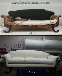 antique empire sofa refurbished and reupholstered