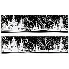 Dpr 2er Set Winter Fensterbild Wald Schneegestöber Schneeflocken Sterne Mit Glimmer Fenstersticker Fensterdekoration Weihnachten