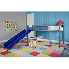 Bunk bed with stairs and slide Diy Dhp Junior Twin Metal Loft Bed With Slide Multifunctional Design Silver With Blue Slide Amazoncom Bunk Bed With Stairs And Slide Amazoncom