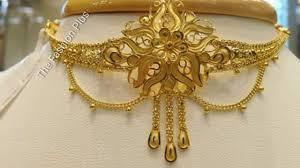 Gold Cheek Necklace Design Light Weight Gold Choker Designs Collection