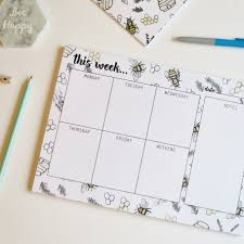 weekly planner desk pad honey and ble