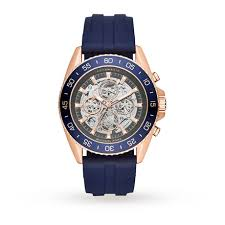 michael kors rose gold tone and blue silicone skeleton automatic michael kors rose gold tone and blue silicone skeleton automatic watch
