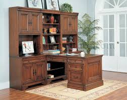 Paneled Wood Desk Home fice Furniture Set In Medium Walnut