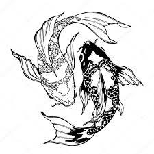 тату рыбы инь янь кои рыбы символ инь ян стоковое фото