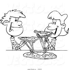 Small Picture Vector of a Cartoon Couple of Kids Sharing Pizza Outlined