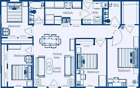 Home Floor Plan 1232 Sq.ft. 4 Bedroom, 2 Bathroom