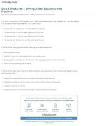 quiz worksheet solving 2 step equations with fractions study com equations with fractions worksheet worksheet large