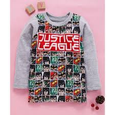 Shop Justice Size Chart Eteenz Full Sleeves T Shirt Justice League Print Grey Info