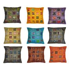 indian antique french cushions. Stylla London Set Of 10 Indian Handmade Vintage Embroidery Sari Patchwork Cushion Cover Decorative Pillow 40 X Cm Antique French Cushions
