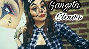 gangsta chola clown makeup tutorial red glitter cut crease