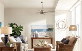 a fan installed in a coastal style home