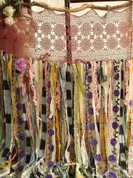 7 foot shower curtain. boho garland curtain gypsy hippie glamping junk shower rag backdrop 7 foot long