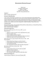 Resume Objective Examples For Receptionist Position Receptionist