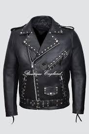 men s m studded black brando real cow hide bikers riders motorcycle designer fit jacket