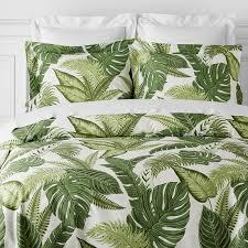 island palm printed bedding duvet queen green