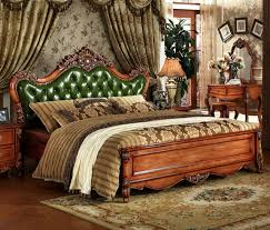 European Style Solid Wood Carved Bedroom Furniture,antique Solid Wood  Bedroom Furniture, Green/