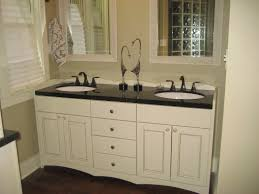 traditional white bathroom design with black double vanity with large mirror dark painted wooden vanity with black and white bathroom furniture