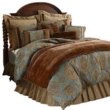 blue and brown king size comforter set damask sky traditional comforters 8