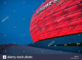 Bayern Munich Stadium Lights Allianz Arena At Night Red Light Football Stadium Of Fc