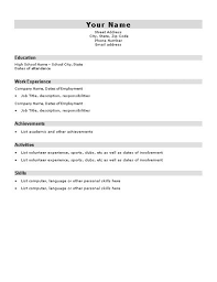 Basic Resume Template For High School Students Http Www