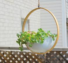 lovely diy hanging indoor planter with concrete planter