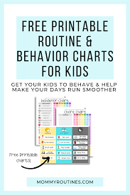Free Editable Behavior Chart Free Printable Routine Behavior Charts For Kids