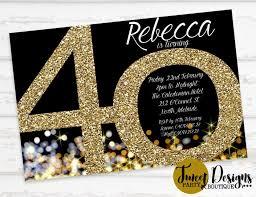 40th Birthday Invitations 40th Birthday Invitation Adult 40th Invitation Gold 40th Invitation Gold Adult Invitations Gold Glitter Invitation 40th Birthday Party
