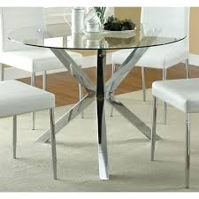 glass top round dining table coaster contemporary glass top round dining table in chrome round glass