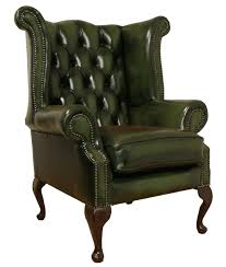 chesterfield armchair queen anne high back fireside wing chair green leather