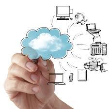businessman drawing a cloud computing diagram   secure  businessman drawing a cloud computing diagram