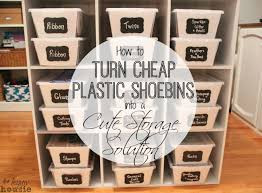 turn clear plastic shoe bins into cute storage solutions