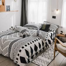 Nordic Design Bedding Nordic Style Fleece Bedding Set Leaves Geometric Duvet Cover Set With Pillowcase Full Size Bedspread Set Bedding Sets Cheap From Sophine11 168 85