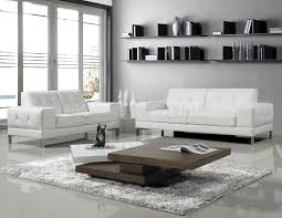 Living Room With White Make A Gallery Modern White Leather Sofa