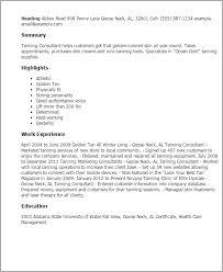 Resume Templates: Tanning Consultant