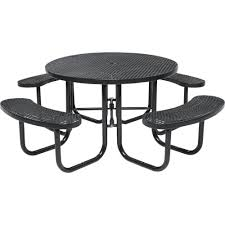 brown commercial round picnic table
