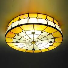 stained glass ceiling light. Round Shade 16 Inch Yellow Stained Glass Tiffany 3 Light Flush Mount In Ceiling Lights F