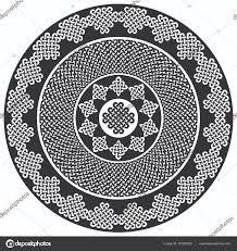 Mandala Stylu Keltského Stylu Nekonečný Uzel Symboly V Bílé A černé