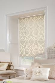 Designer Kitchen Blinds Mesmerizing Luxury Cream Damask Blinds In A White Bedroom With A Shabby Chic Bed