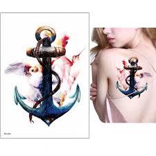 Abstraktní Umění Fake Tattoo Dočasné Tělo Tetování Samolepka Kotva Decal Make Up At Vova