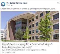 Capital One Is Cutting 950 Jobs From Plano Center Kplx Fm