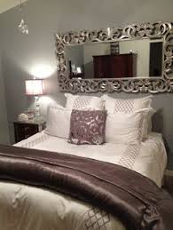 Home Decor - Bedroom Decor Nice use of the mirror to take away from no  headboard