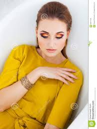 beautiful with make up wearing long yellow dress stock image image of beauty