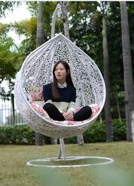 hanging chair frame rattan round white